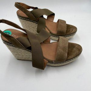 Franco Sarto Olive Green Wedge Sandals New